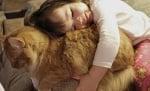 Момиче прегръща котка