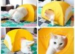 Краена вариант на завършената къщичка за котки от тениска и закачалка