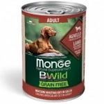 Хапки в сос за кучета в зряла възраст от всички породи Monge BWILD Grain Free, без зърнени храни, сагнешко, тиква, тиквички, 400гр