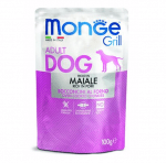 Пауч за куче хапки на грил със свинско MONGE GRILL Chunkies with Pork, 12 броя х 100гр