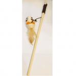Дървена въдичка за коте - 40см с мишка