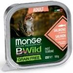 Пастет за котки Monge BWILD Grain Free Adult , без зърнени храни, със сьомга и зеленчуци, 100гр