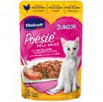 Паучове за котенца от 2-я месец, вкусен сос с истински парченца месо Vitakraft POESIE Pouch JUNIOR , 85гр, два вкуса