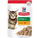 Храна за котенца до 1 год. и за бременни/кърмещи котки Hill's  Science Plan Kitten пауч с пилешко, 12брх85гр