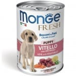 Хапки в пастет за подрастващи кученца от отбиването до 1г. Monge Fresh Puppy, с телешко месо и зеленчуци, 400гр