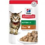 Храна за котенца до 1 год. и за бременни/кърмещи котки Hill's  Science Plan Kitten пауч с пуйка, 12бр х 85гр
