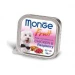 Пастет и хапки за кучета с пиле и малини MONGE FRUIT Paté & Chunkies Chicken & Raspberry, 100гр