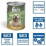 Консерва хапки в сос за кучета в зряла възраст Leo's, с пилешко месо,  две разфасовки