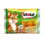 Kitekat Pouch Farm Menu in Gravy Фермерско меню в сос грейви за котки в зряла възраст - опаковка от 4 пауча x 100 g