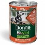 Хапки в сос за кучета в зряла възраст от всички породи Monge BWILD Grain Free, без зърнени храни,  с пуйка, тиква и тиквички, 400гр