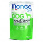 Пауч за куче хапки на грил със свинско MONGE GRILL Chunkies with Lamb and Vegetables, 12 броя х 100гр