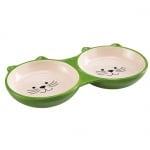 Двойна керамична купа за котки - 0,230 л