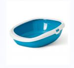котешка тоалетна Gizmo L 52 х 39.5 х 15 см, синьо с бял борд