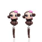 "Арт обеци с 3D ефект - ""Lovely Monkey"" - Маймунка"