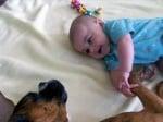 Боксер с бебе на легло