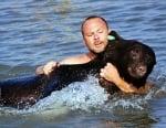 Човек рискува живота си, за да спаси давеща се мечка
