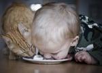 Дете с котка