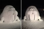 Фигура на морж от сняг