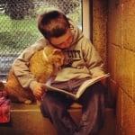 Котка учи заедно с момченце