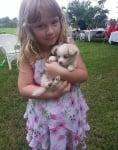 Малко бяло кученце с момиченце