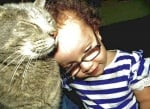 Малко момиченце с котка