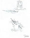 Мечок се къпе в реката