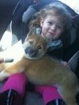 Момиченце в кола с кученце