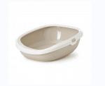 котешка тоалетна Gizmo М 44 х 35.5 х 12.5 см, цвят мока кафе с бял борд