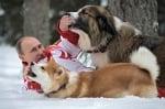 Путин сниман с кучетата си