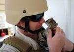 Възрастен войник с коте