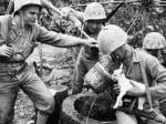 Войници напояват козле