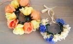Завършени корона и гердан от цветя за кучето